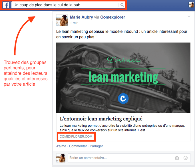 facebook article groupe