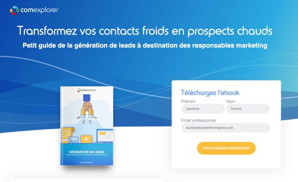 Ebook génération de leads landing page ComExplorer