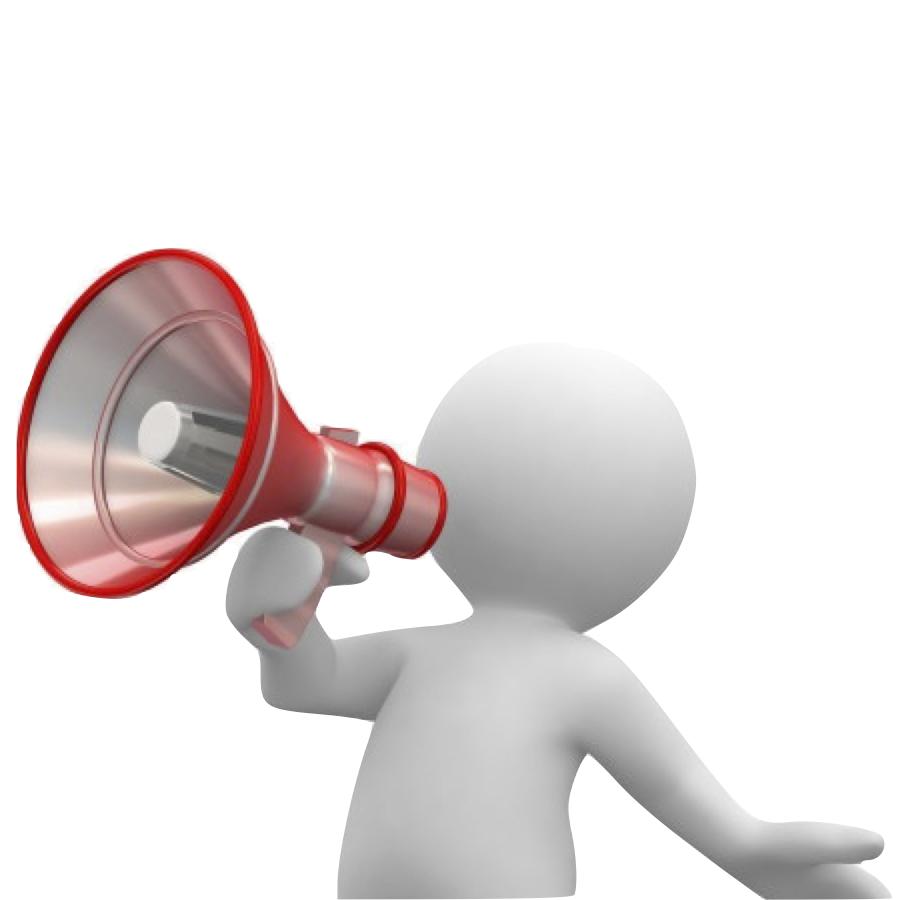 Personnage qui parle dans un megaphone