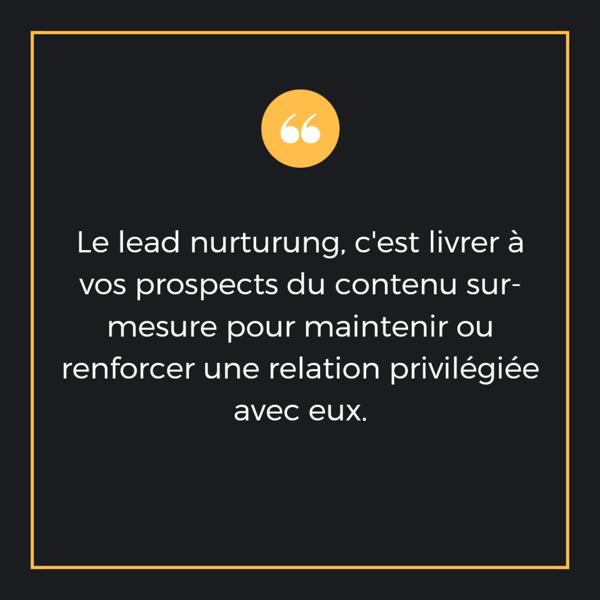 Le lead nurturung, c'est livrer à vos prospects du contenu sur-mesure pour maintenir ou renforcer une relation privilégiée avec eux.