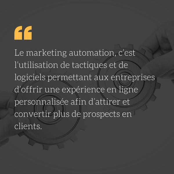 marketing automation c'est l'utilisation de tactiques et de logiciels permettant aux entreprises d'offrir une expérience en ligne personnalisée